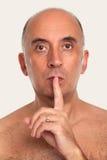 Mężczyzna mówi ciszę, zaciszność obrazy royalty free