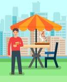 Mężczyzna Ma lunch w pizzeria wektoru ilustracji ilustracja wektor