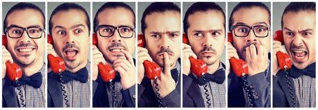 Mężczyzna ma różnorodne emocje opowiada na telefonie zdjęcia royalty free