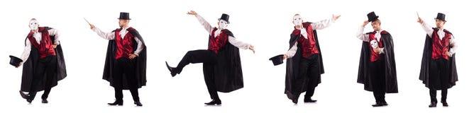 Mężczyzna magik odizolowywający na bielu Fotografia Stock