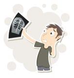 Mężczyzna martwiący się promieniowanie rentgenowskie rezultaty Zdjęcia Royalty Free