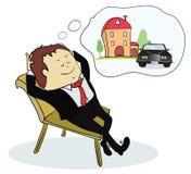 Mężczyzna marzy dom i samochód Zdjęcia Royalty Free