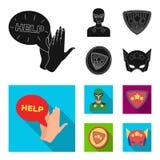 Mężczyzna, maska, peleryna i inna sieci ikona w czarnym, mieszkanie styl Kostium, nadczłowiek, superforce, ikony w ustalonej kole ilustracja wektor