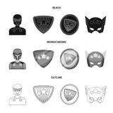 Mężczyzna, maska, peleryna i inna sieci ikona w czarnym, monochromatyczny, konturu styl Kostium, nadczłowiek, superforce, ikony w royalty ilustracja