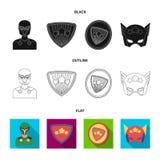 Mężczyzna, maska, peleryna i inna sieci ikona w czarnym, płaski, konturu styl Kostium, nadczłowiek, superforce, ikony w ustalonej ilustracji