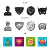 Mężczyzna, maska, peleryna i inna sieci ikona w czarnym, płaski, monochromu styl Kostium, nadczłowiek, superforce, ikony w secie royalty ilustracja