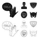 Mężczyzna, maska, peleryna i inna sieci ikona w czerni, konturu styl Kostium, nadczłowiek, superforce, ikony w ustalonej kolekci ilustracji