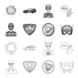 Mężczyzna, maska, peleryna i inna sieci ikona w konturze, monochromu styl Kostium, nadczłowiek, superforce, ikony w ustalonej kol royalty ilustracja