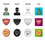 Mężczyzna, maska, peleryna i inna sieci ikona w kreskówce, czerń, kontur, mieszkanie styl Kostium, nadczłowiek, superforce, ikony ilustracja wektor