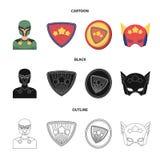 Mężczyzna, maska, peleryna i inna sieci ikona w kreskówce, czerń, konturu styl Kostium, nadczłowiek, superforce, ikony w secie ilustracja wektor