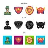 Mężczyzna, maska, peleryna i inna sieci ikona w kreskówce, czerń, mieszkanie styl Kostium, nadczłowiek, superforce, ikony w ustal ilustracji