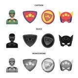 Mężczyzna, maska, peleryna i inna sieci ikona w kreskówce, czerń, monochromu styl Kostium, nadczłowiek, superforce, ikony w secie royalty ilustracja