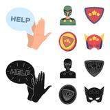 Mężczyzna, maska, peleryna i inna sieci ikona w kreskówce, czerń styl Kostium, nadczłowiek, superforce, ikony w ustalonej kolekci royalty ilustracja
