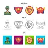 Mężczyzna, maska, peleryna i inna sieci ikona w kreskówce, kontur, mieszkanie styl Kostium, nadczłowiek, superforce, ikony w seci ilustracja wektor