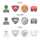 Mężczyzna, maska, peleryna i inna sieci ikona w kreskówce, kontur, monochromu styl Kostium, nadczłowiek, superforce, ikony w seci royalty ilustracja