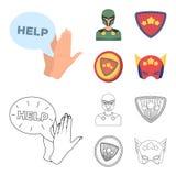 Mężczyzna, maska, peleryna i inna sieci ikona w kreskówce, konturu styl Kostium, nadczłowiek, superforce, ikony w ustalonej kolek ilustracji