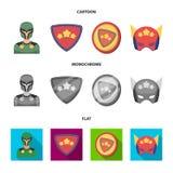 Mężczyzna, maska, peleryna i inna sieci ikona w kreskówce, mieszkanie, monochromu styl Kostium, nadczłowiek, superforce, ikony w  royalty ilustracja
