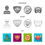 Mężczyzna, maska, peleryna i inna sieci ikona w mieszkaniu, kontur, monochromu styl Kostium, nadczłowiek, superforce, ikony w sec ilustracji