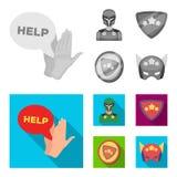 Mężczyzna, maska, peleryna i inna sieci ikona w monochromu, mieszkanie styl Kostium, nadczłowiek, superforce, ikony w ustalonej k ilustracji