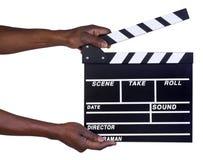 Mężczyzna mienia filmu produkci clapper deska Zdjęcie Stock