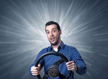 Mężczyzna mienia kierownica Zdjęcie Stock