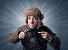 Mężczyzna mienia kierownica Fotografia Stock