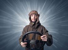Mężczyzna mienia kierownica Obraz Royalty Free