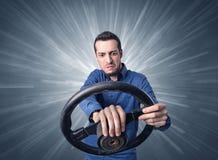 Mężczyzna mienia kierownica Obraz Stock