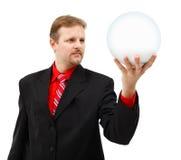Mężczyzna mienia placeholder kula ziemska w jego ręce Obraz Stock