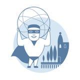 Mężczyzna mienia sfera również zwrócić corel ilustracji wektora Obraz Stock