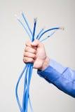 Mężczyzna mienia sieci kable Obraz Royalty Free