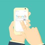 Mężczyzna mienia smartphone w ręce Wisząca ozdoba app dla telefonów royalty ilustracja