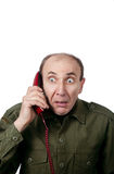 mężczyzna militarny telefonu mówienie Zdjęcia Royalty Free