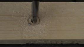 Mężczyzna musztruje drewnianą deskę zbiory