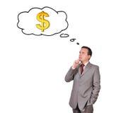 Mężczyzna myśleć o pieniądze Fotografia Stock