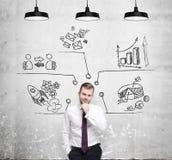 Mężczyzna myśleć o rozwój biznesu miarach Mapy, pasztetowa mapa, biznesowe ikony rysują na betonowej ścianie Fotografia Royalty Free
