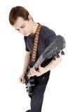 Mężczyzna na biały tle gitara elektryczna wykonawca Obrazy Royalty Free