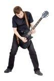 Mężczyzna na biały tle gitara elektryczna wykonawca Obraz Royalty Free