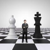 Mężczyzna na chessboard Zdjęcie Royalty Free