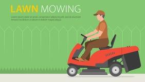 Mężczyzna na ciągnikowym lawnmower ilustracji