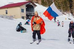 Mężczyzna na narcie w karnawałowym kostiumu Obraz Stock
