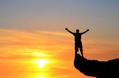 Mężczyzna na wierzchołku Fotografia Stock