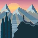 Mężczyzna na wierzchołku ogląda cudowną scenerię wzgórze Fotografia Royalty Free