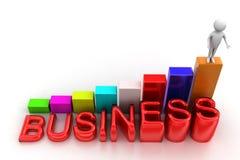 Mężczyzna na wierzchołku Prętowy wykres Z Biznesowym tekstem Fotografia Stock