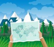 Mężczyzna na wycieczkuje wycieczki mienia mapie w jego ręki ilustracji