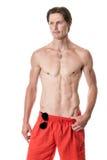 mężczyzna nad strzału pracownianym swimwear biel Zdjęcie Stock