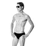 mężczyzna nad strzału pracownianym swimwear biel Obraz Stock