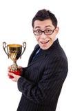 Mężczyzna nagradzający z filiżanką fotografia stock