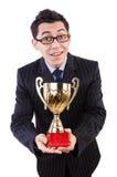 Mężczyzna nagradzający z filiżanką odizolowywającą zdjęcia royalty free