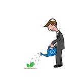 Mężczyzna nawadnia małą drzewną kreskówkę Fotografia Stock